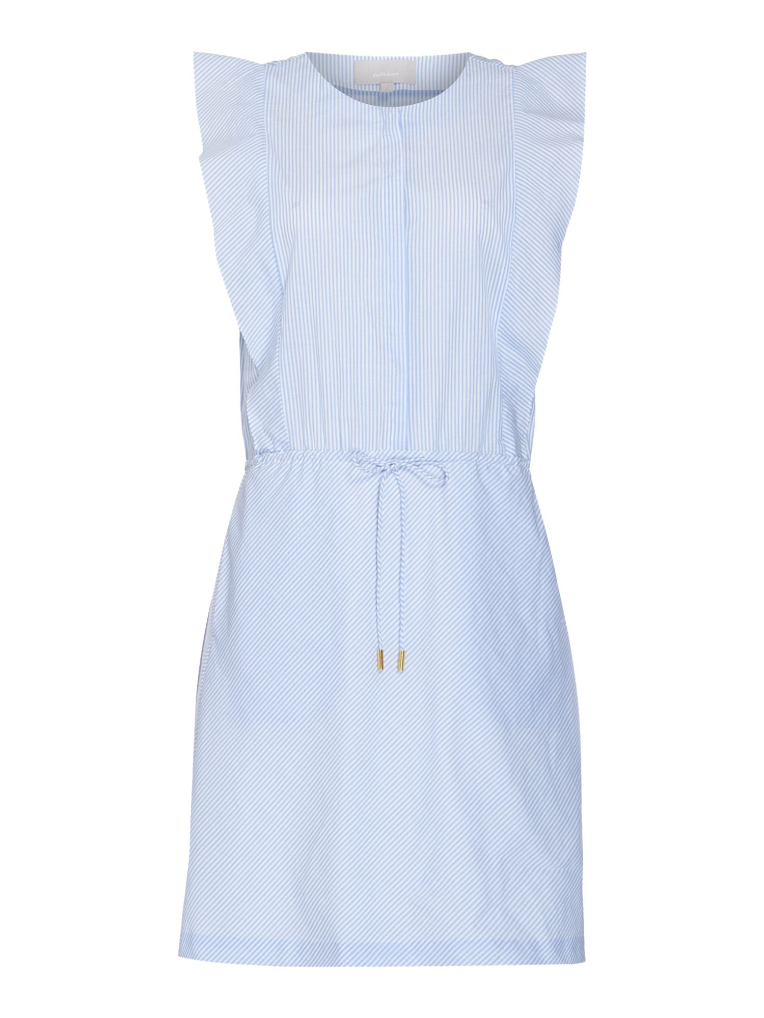 In Wear Sleeveless frill detail button up dress, Blue