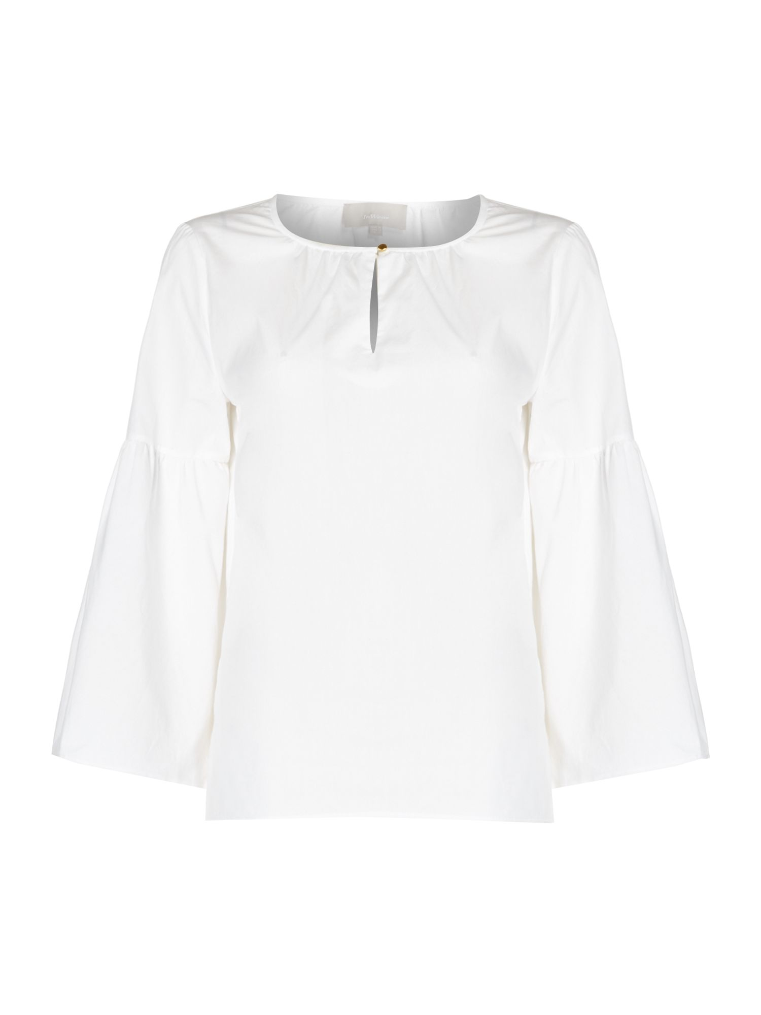 In Wear Flared sleeve button detail shirt, White