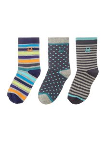 Benetton Boys Patterned Sock 3 Pack