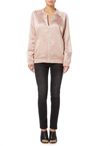 Bardot Melody satin finish long sleeve bomber