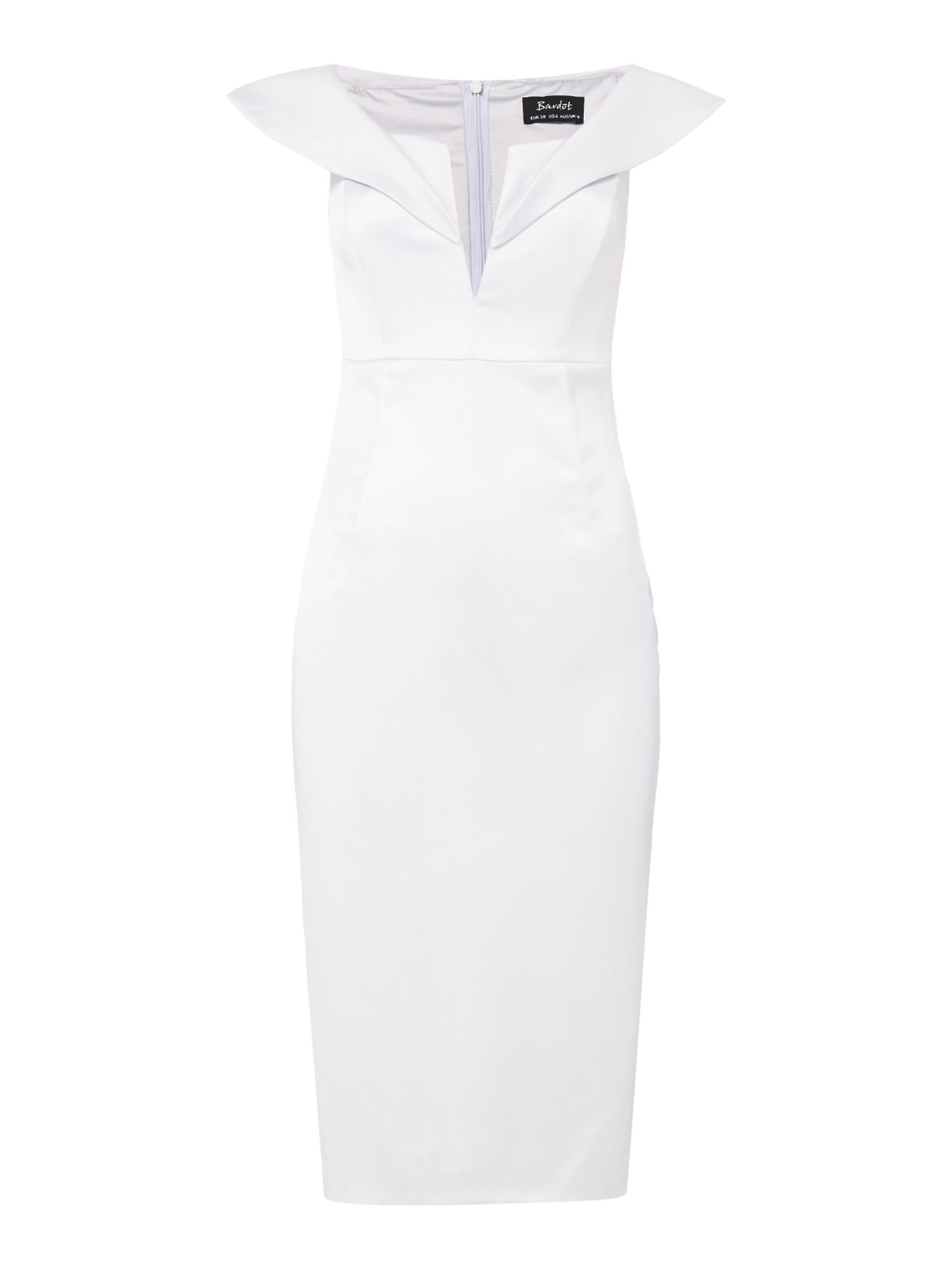 Bardot Luna bardot neckline satin bodycon dress, Silver