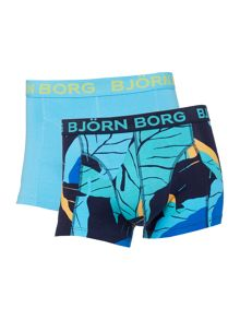 Bjorn Borg 2 Pack Leaf Print and Plain Trunk