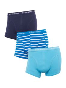 Bjorn Borg 3 Pack Stripe and Solid Trunk