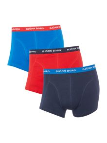 Bjorn Borg 3 Pack Contrast Waistband Trunk