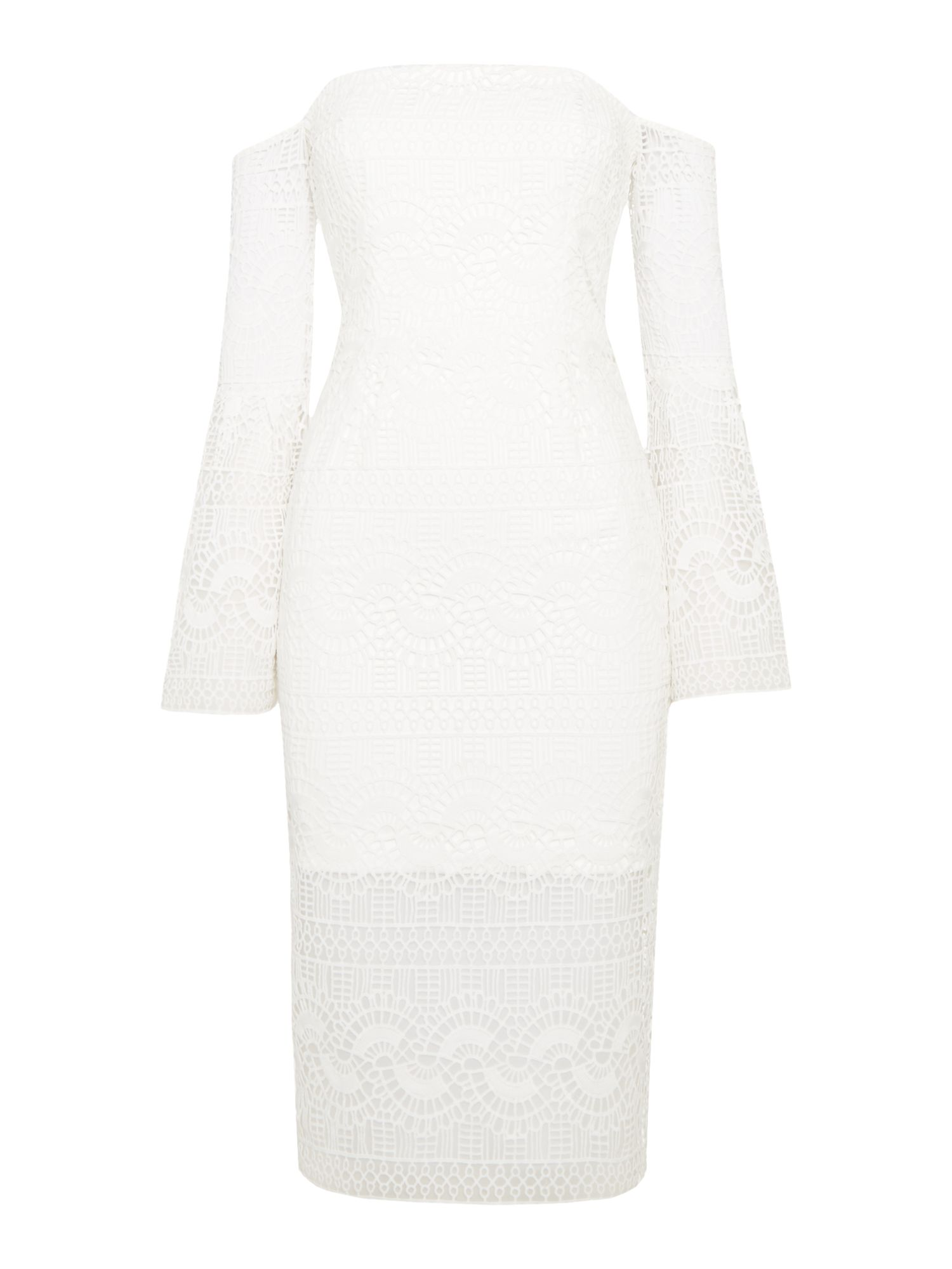 Bardot Geo Lace bardot neckline lace midi dress, White