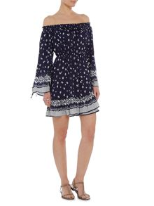 Bardot Lopex Bardot neck printed sleeve dress