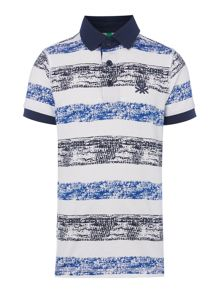 Benetton Boys Painted Stripe Short Sleeve Polo Shirt