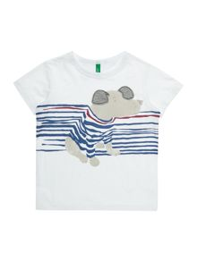 Benetton Boys Stripey Dog Short Sleeve T-Shirt