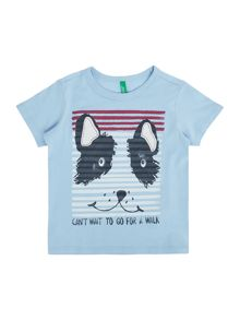 Benetton Boys Stripey Dog Face T-Shirt