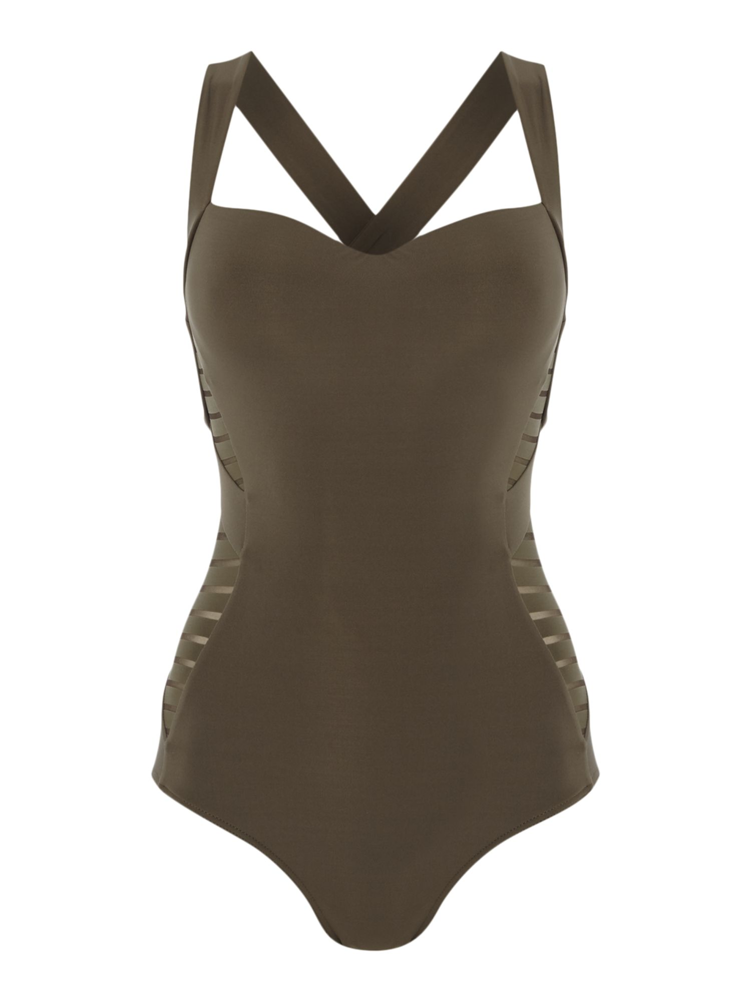 Jets Parallels infinity moulded swimsuit, Khaki