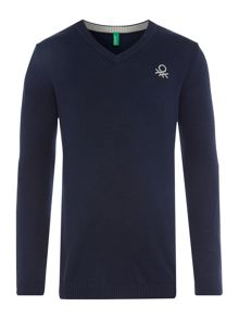 Benetton Boys Small Logo V Neck Knit Jumper