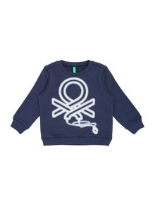 Benetton Girls 65 Logo Crew Neck Sweatshirt