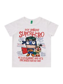 Benetton Boys Superhero Graphic Short Sleeve T-Shirt