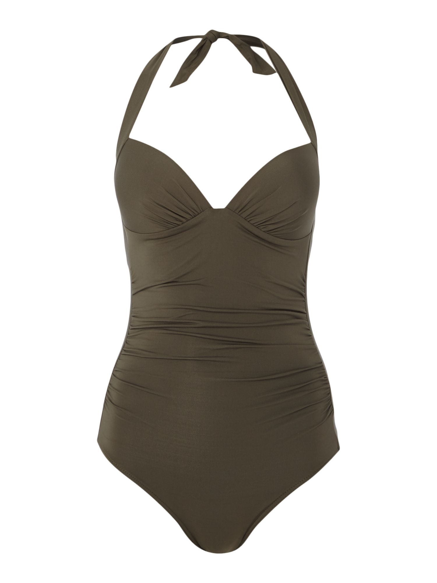 Jets 50`s gathered halter swimsuit, Khaki