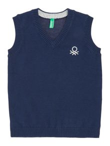 Benetton Boys Tank Small Logo Knit Jumper