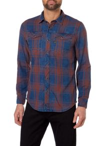 G-Star Long-Sleeve Indigo West Flannel Check Shirt