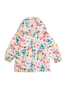 name it Girls Tropical Fruit Print Raincoat