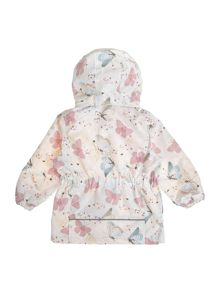 name it Girls Butterfly Print Hooded Zip Up Jacket