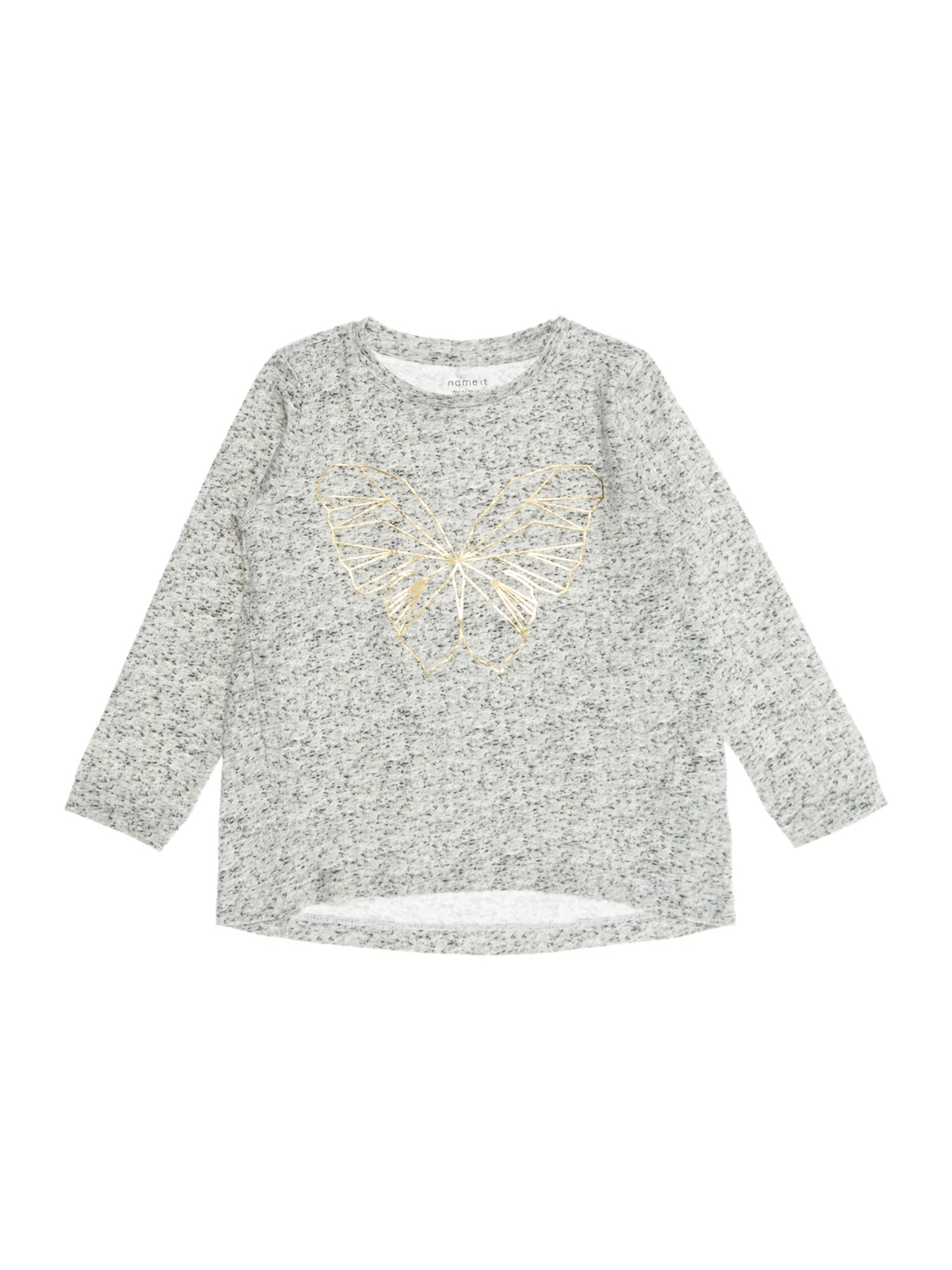 Name it name it Girls Gold Butterfly Long Sleeve T-shirt, Grey