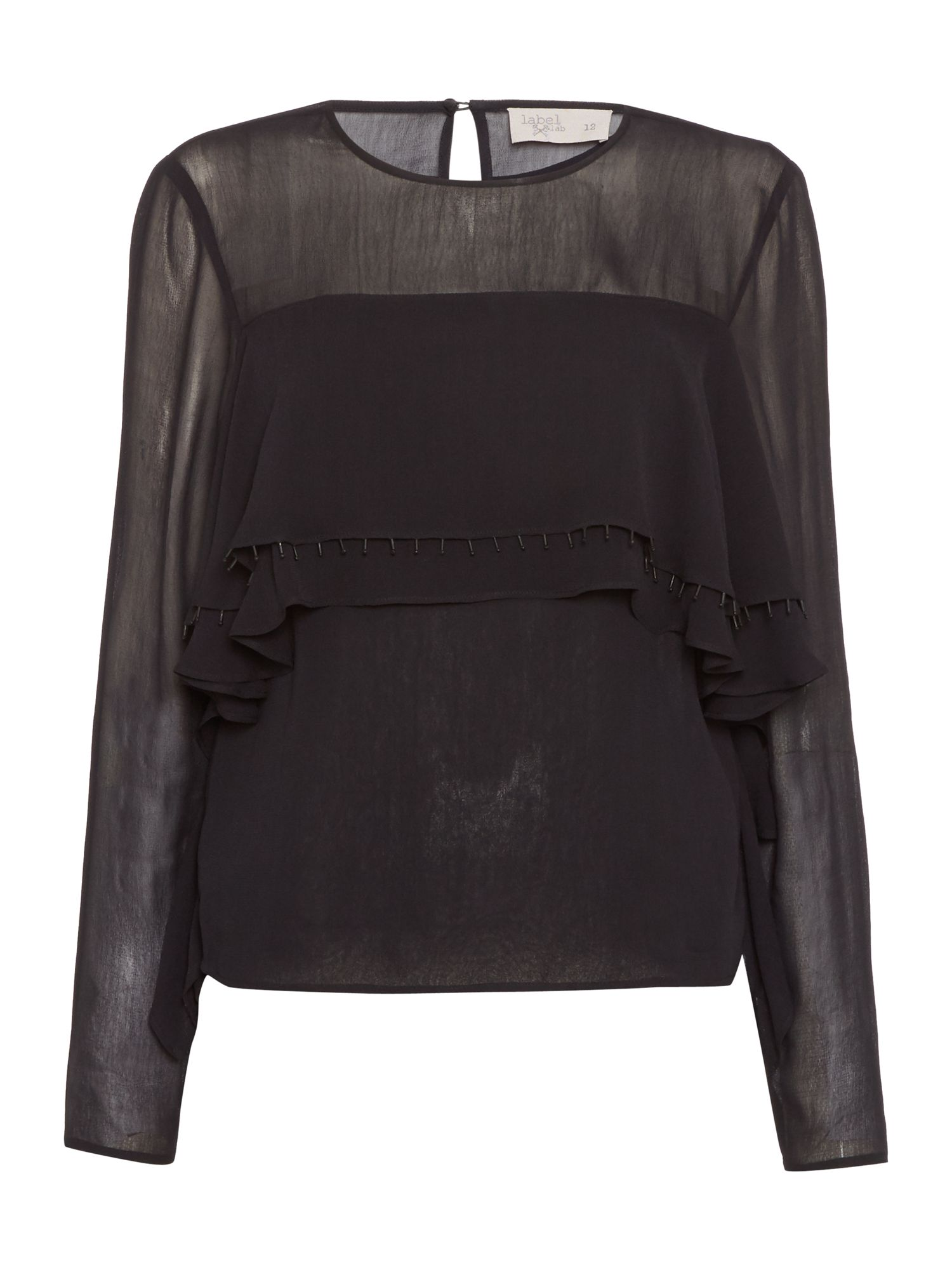 Label Lab Ruffle Front Blouse, Black