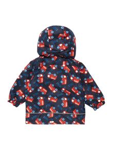 name it Boys Fire Truck Print Zip Up Hooded Jacket