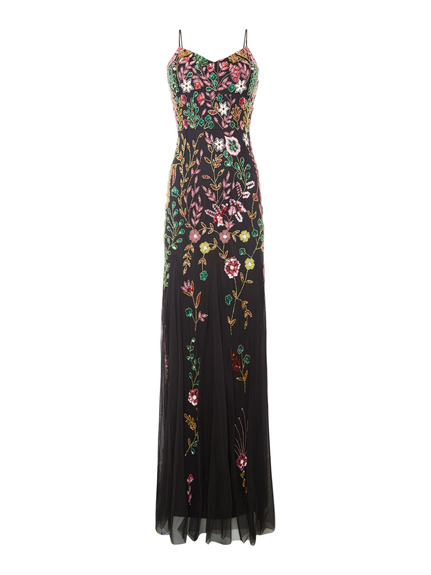 Adrianna Papell V neck floral beaded dress, Black Multi