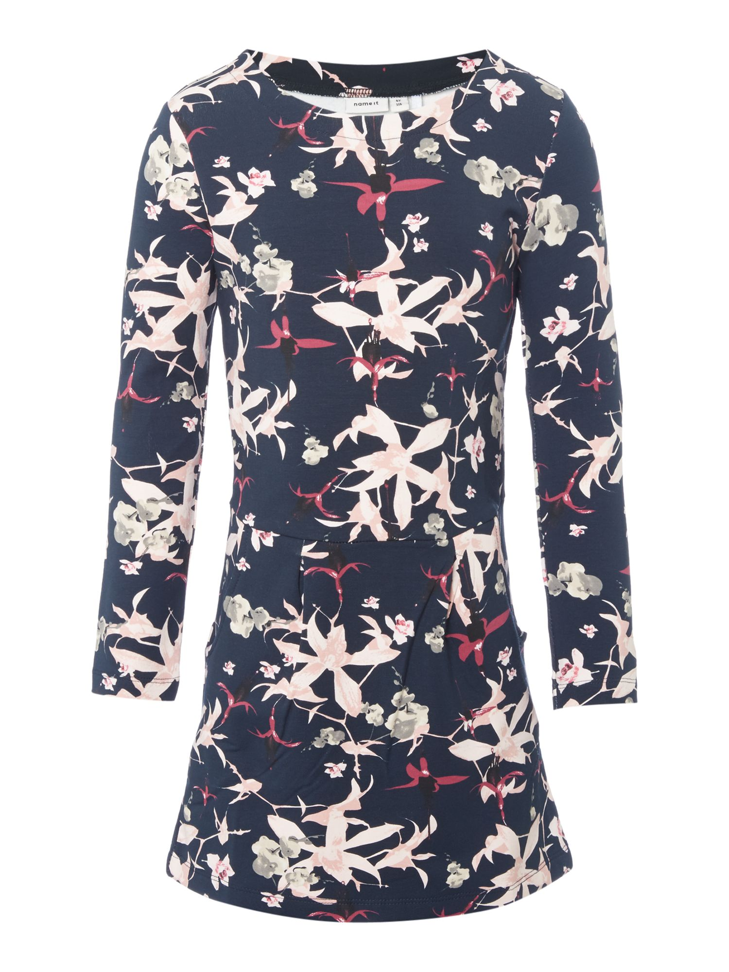 Name it name it Girls Floral Long-Sleeve Sweater Dress, Navy