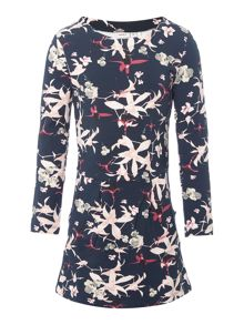 name it Girls Floral Long Sleeve Sweater Dress