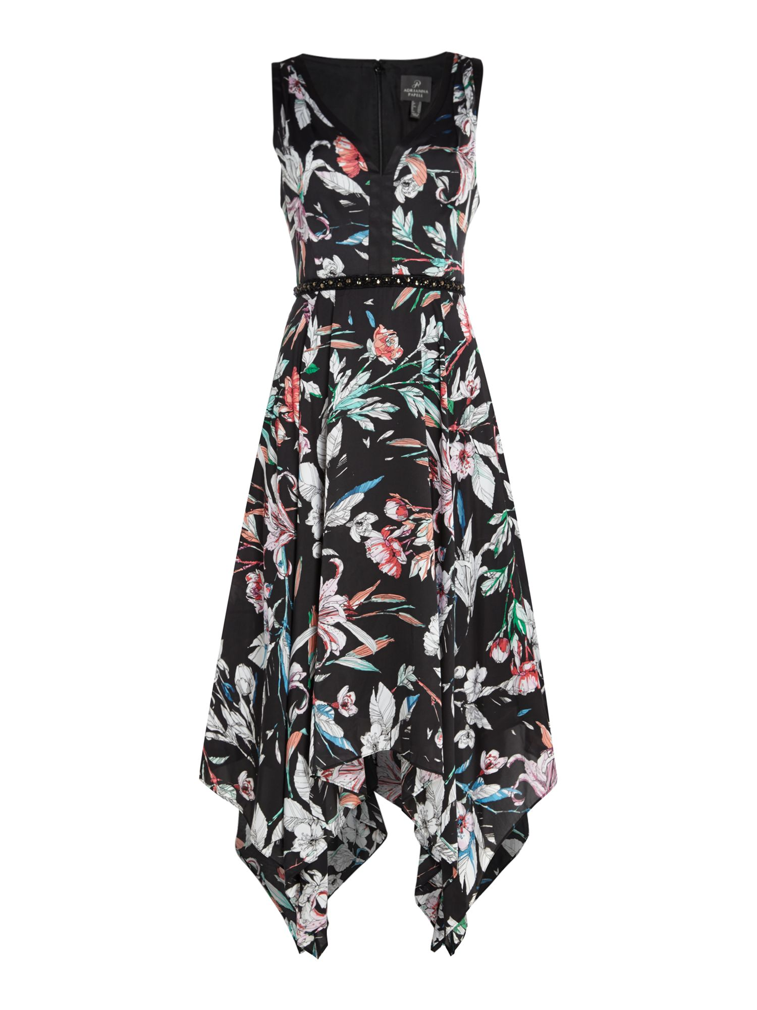 Adrianna Papell V neck floral dress with hankie hem, Black Multi