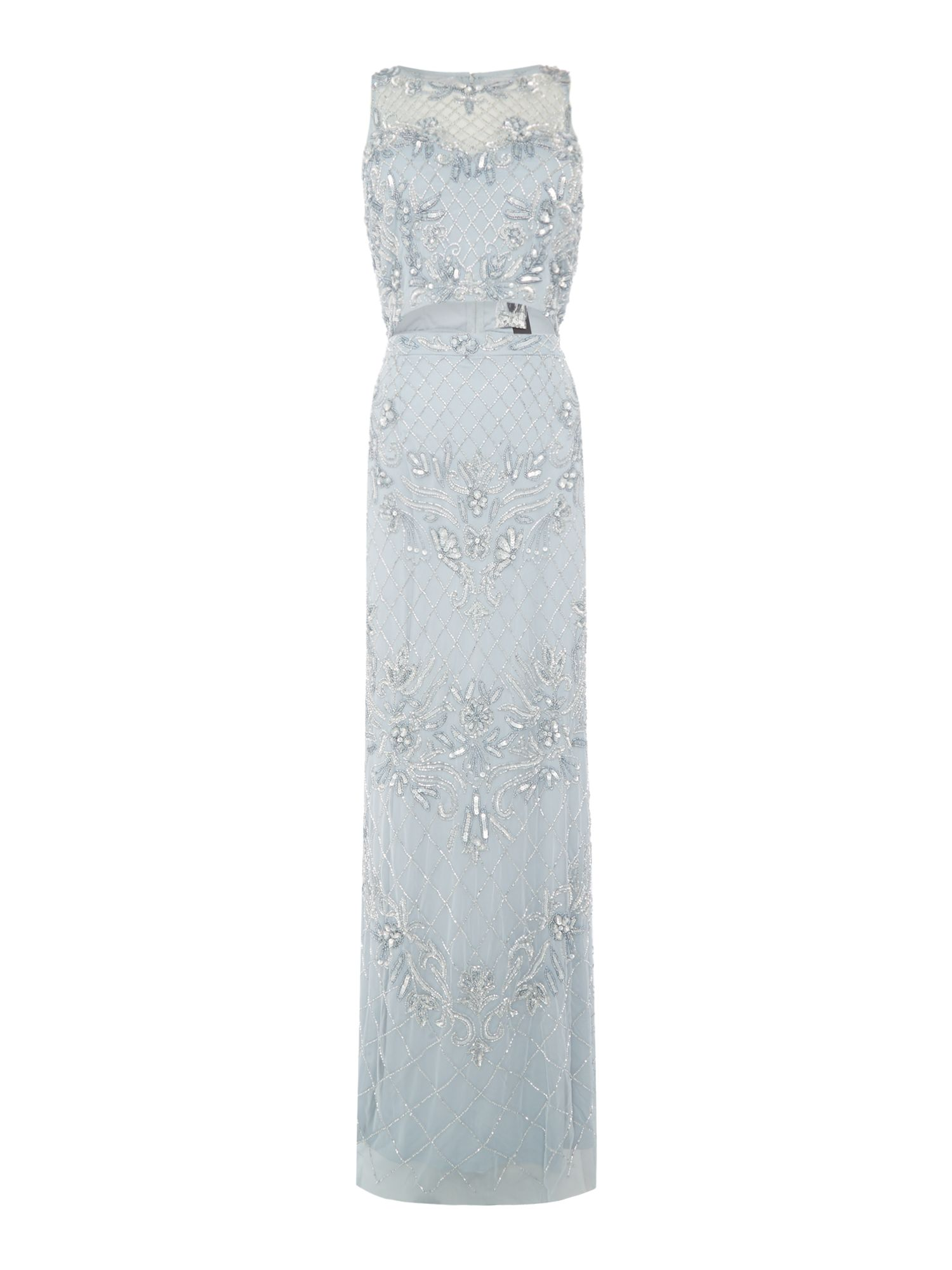 Adrianna Papell Sleeveless beaded lace dress, Light Blue
