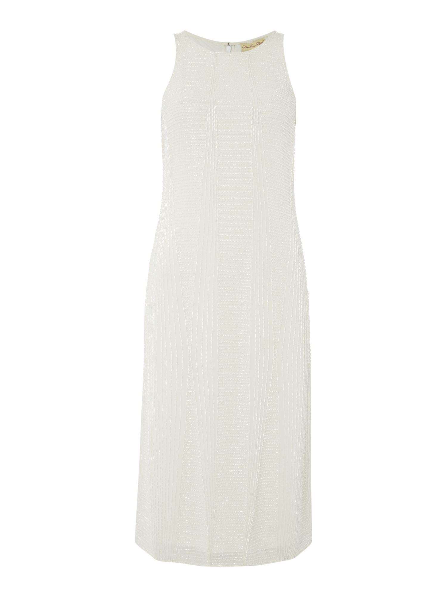 Frock and Frill Sleeveless beaded shift dress, White