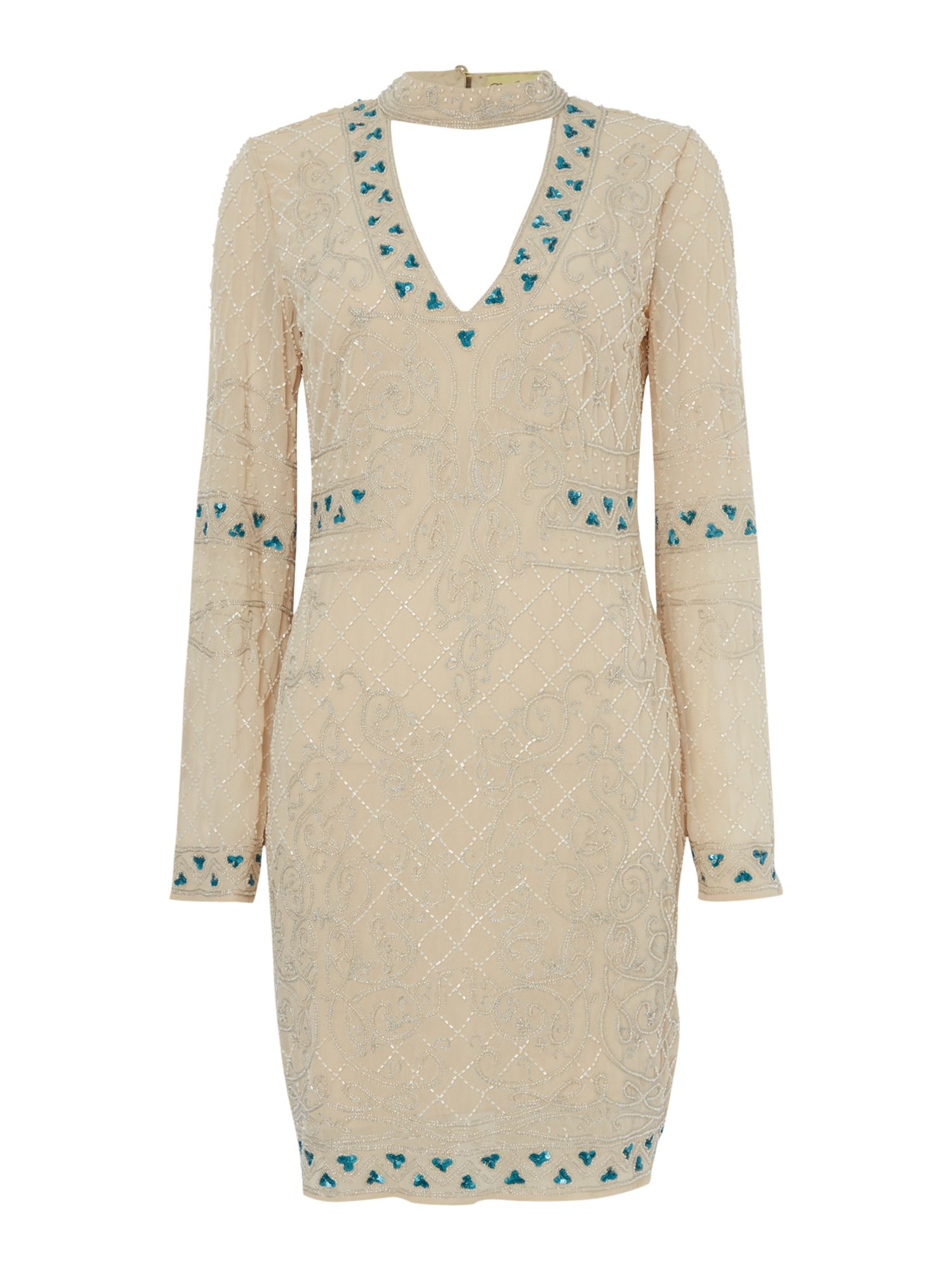 Frock and Frill Beaded shift dress with choker, Nude