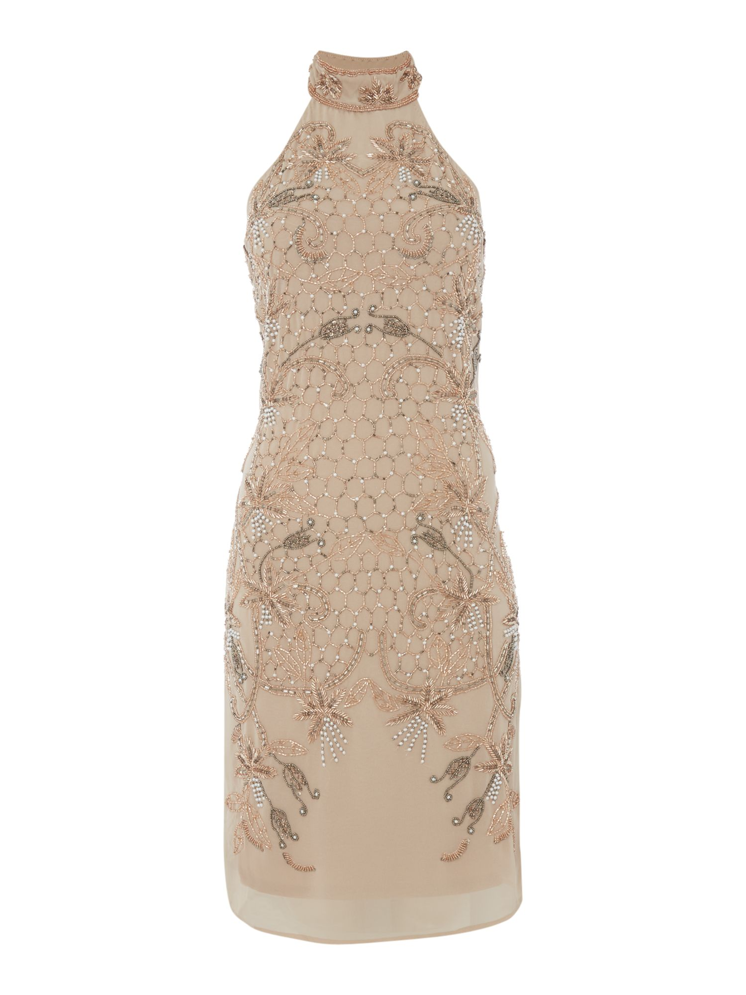 Frock and Frill Halter neck beaded dress, Nude