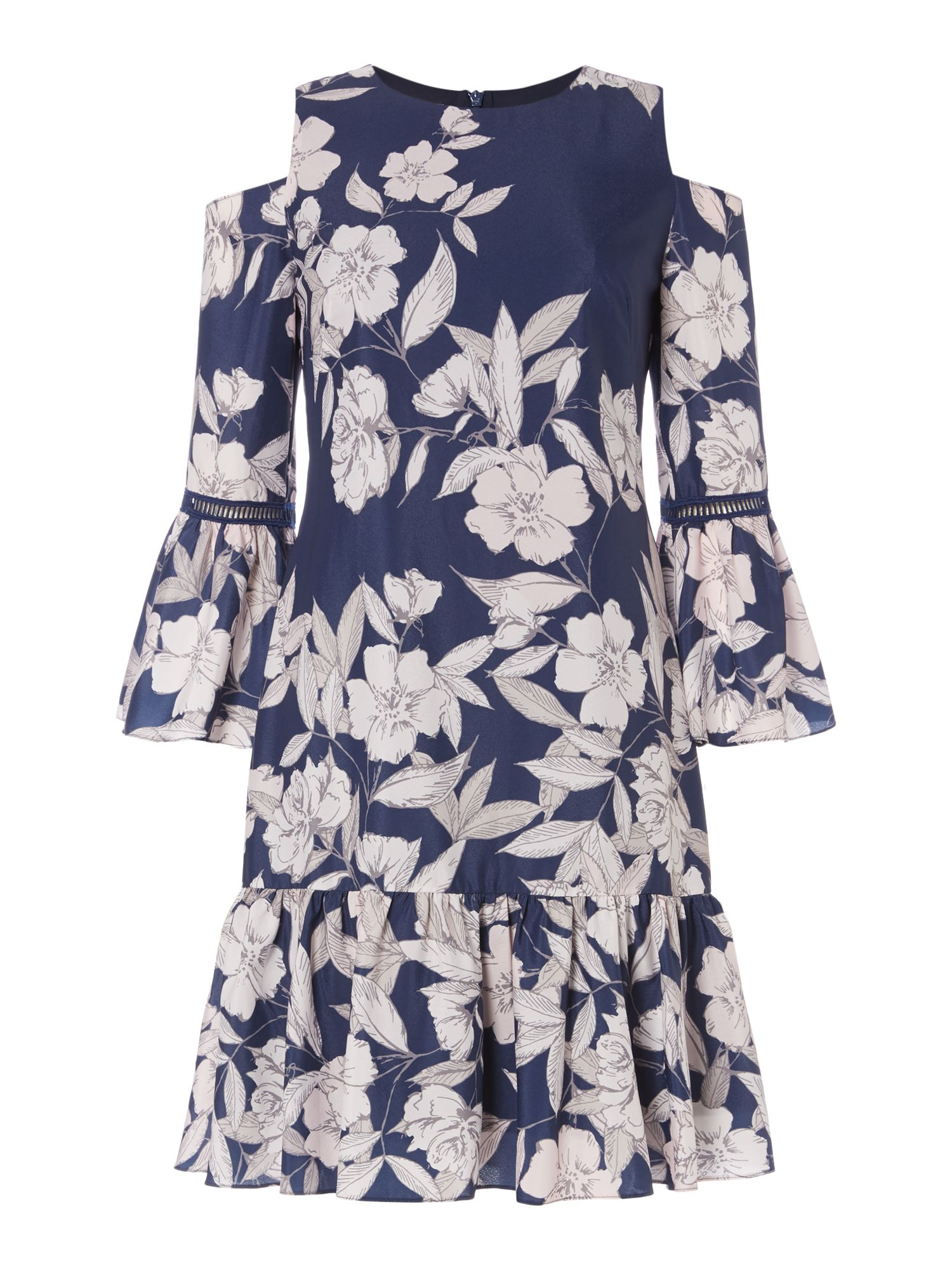 Eliza J Petal print chiffon shift dress, Blue