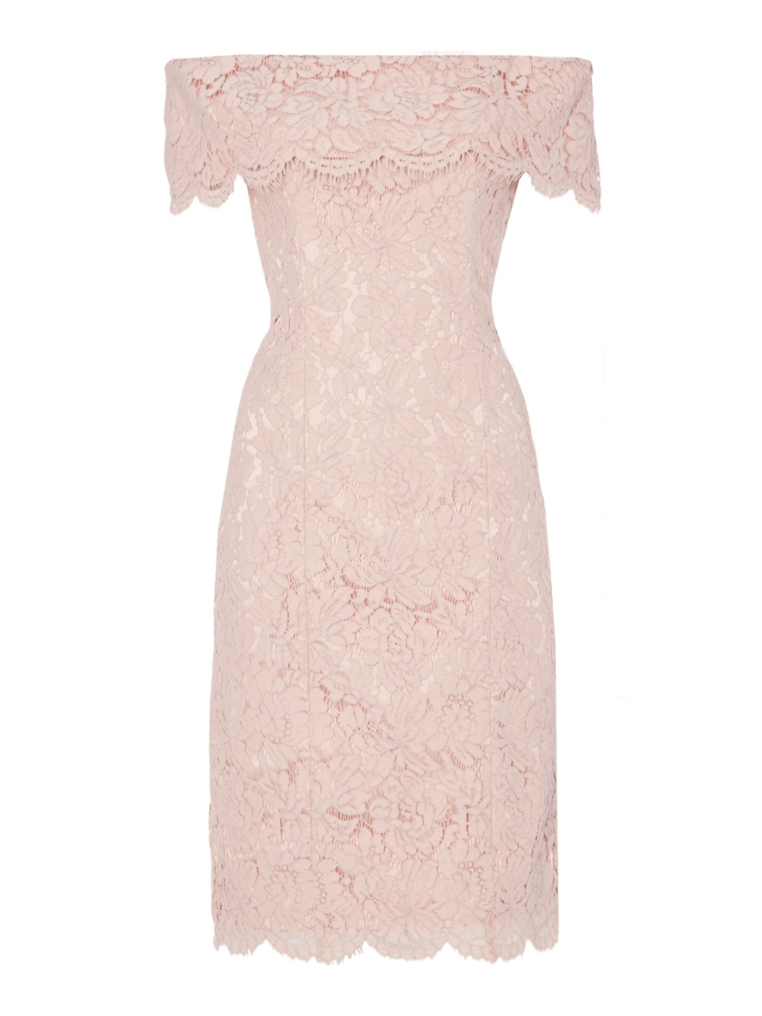 Eliza J Off shoulder bardot lace shift dress, Pink