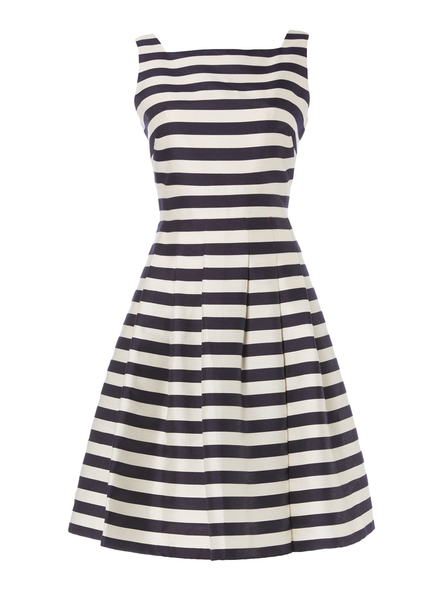 Eliza J Sleeveless striped fit and flare dress, Blue