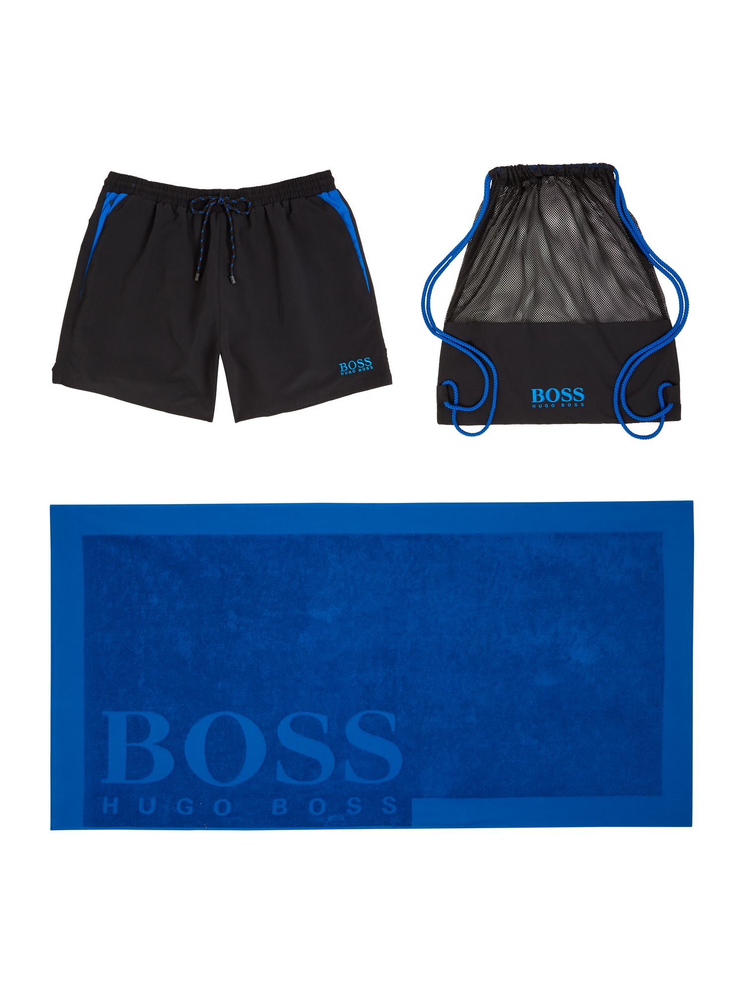 Men's Hugo Boss Swimshorts, Towel and Beach Bag Set, Blue