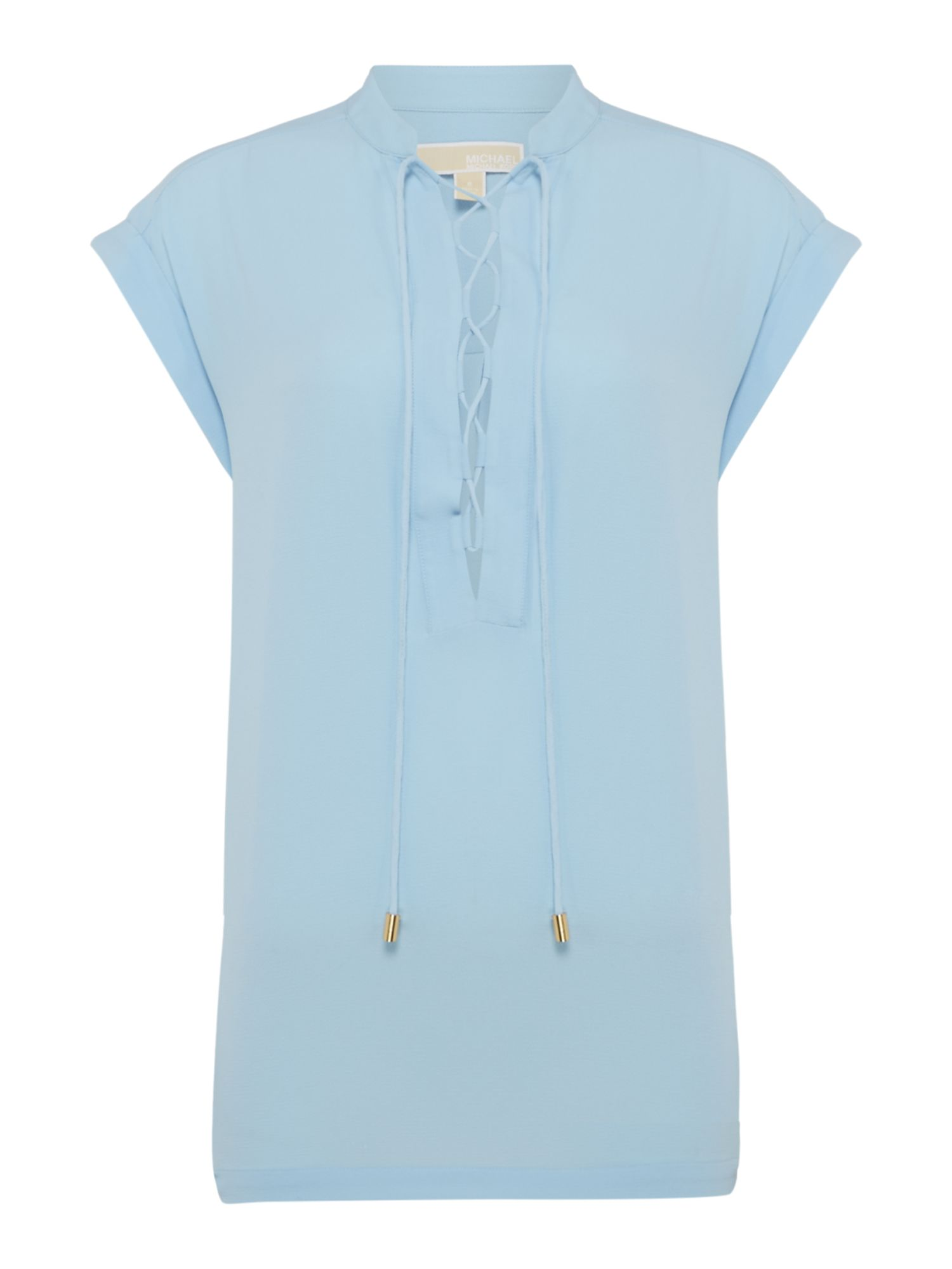 Michael Kors Cap sleeve top with lace up neck, Cloud