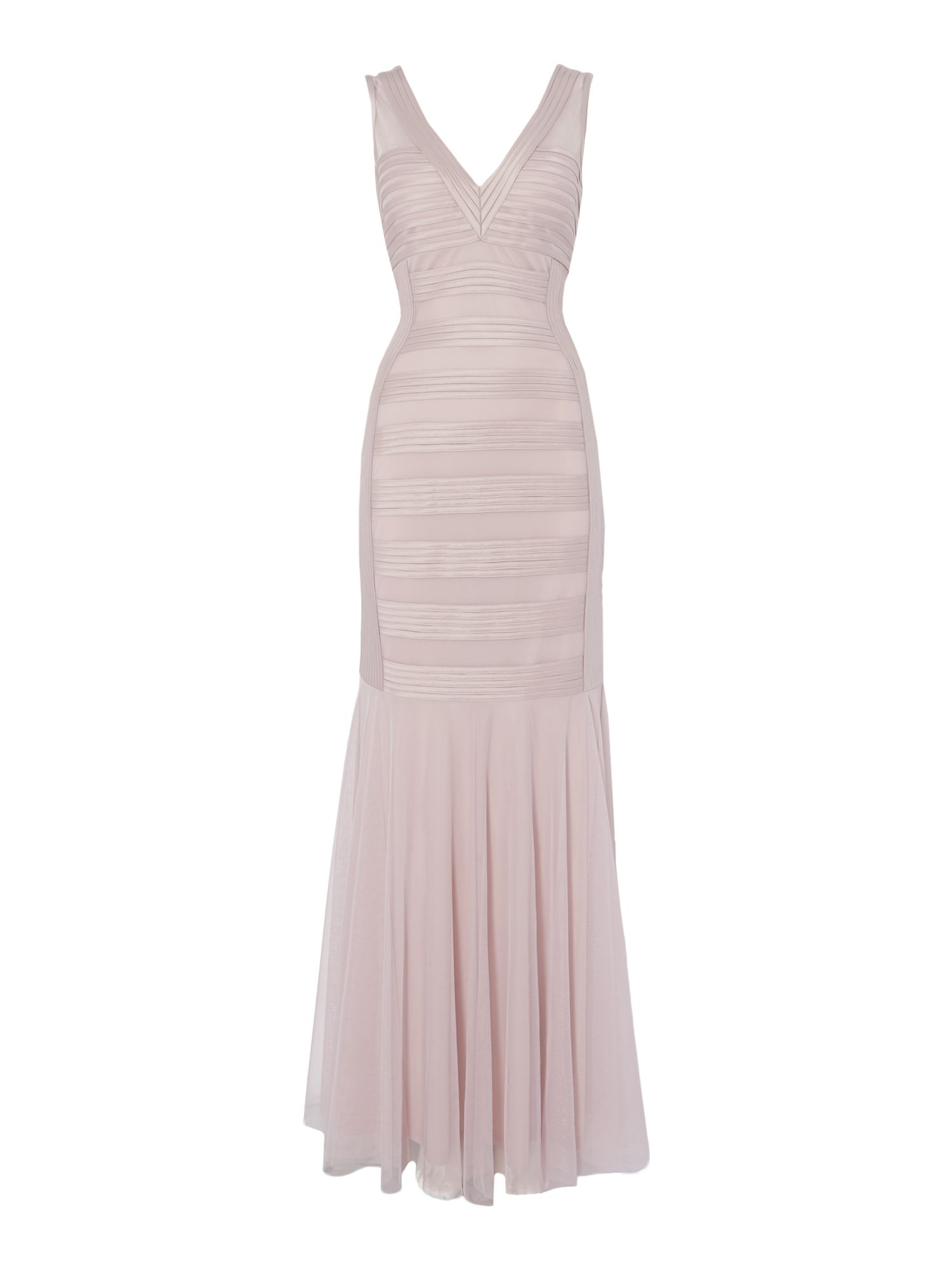 JS Collections Sleeveless structured gown with banding, Pink
