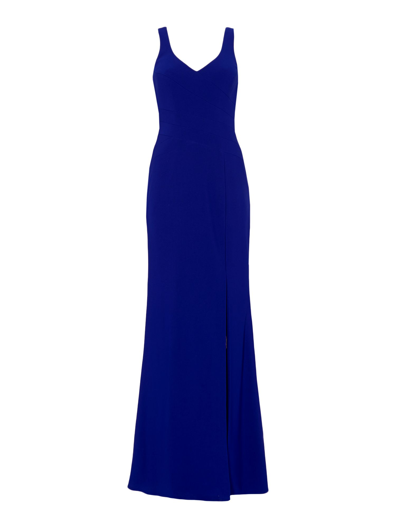 JS Collections Sleeveless crepe gown with thigh split, Blue