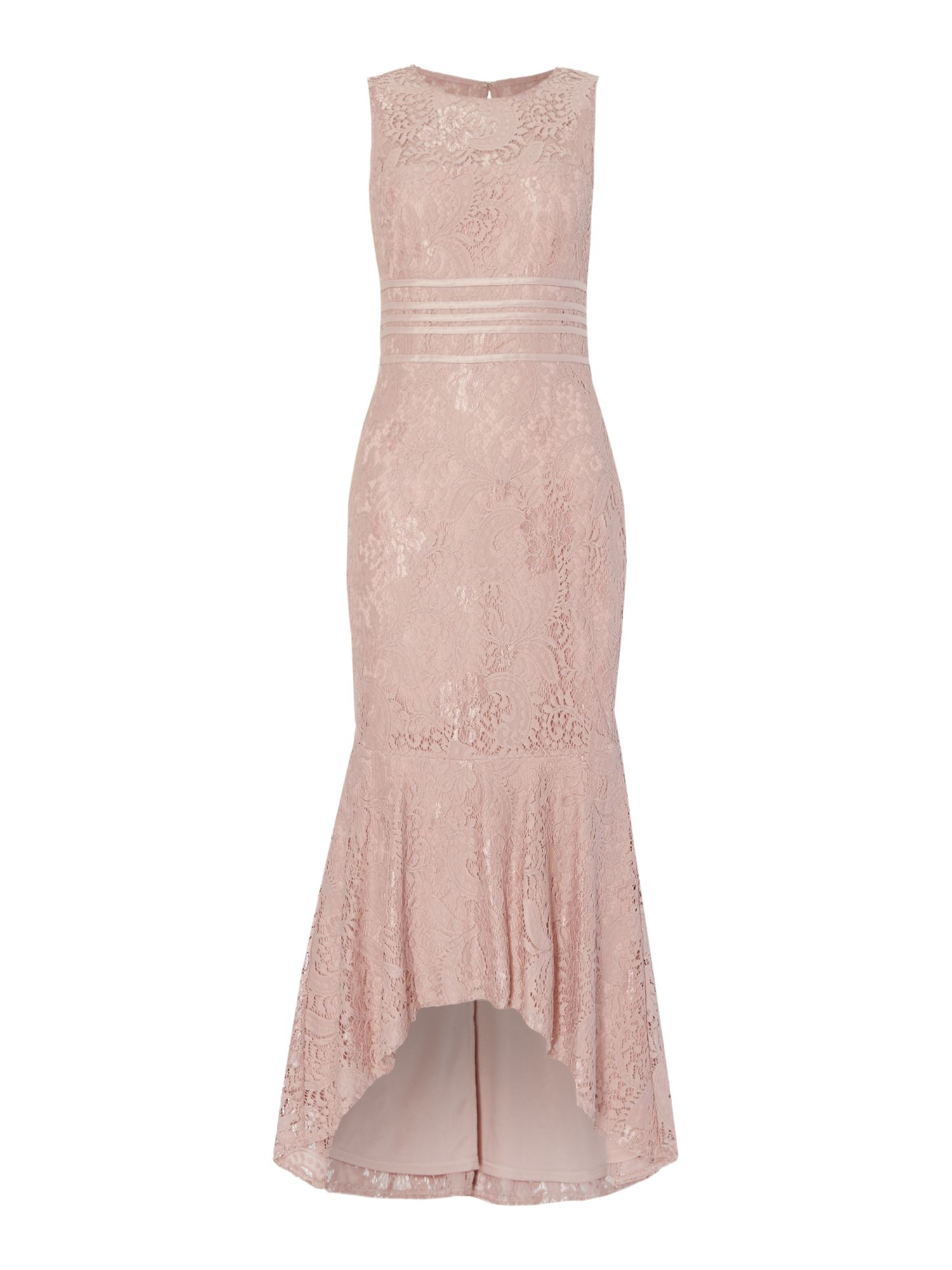 JS Collections Midi lace dress with banding, Pink