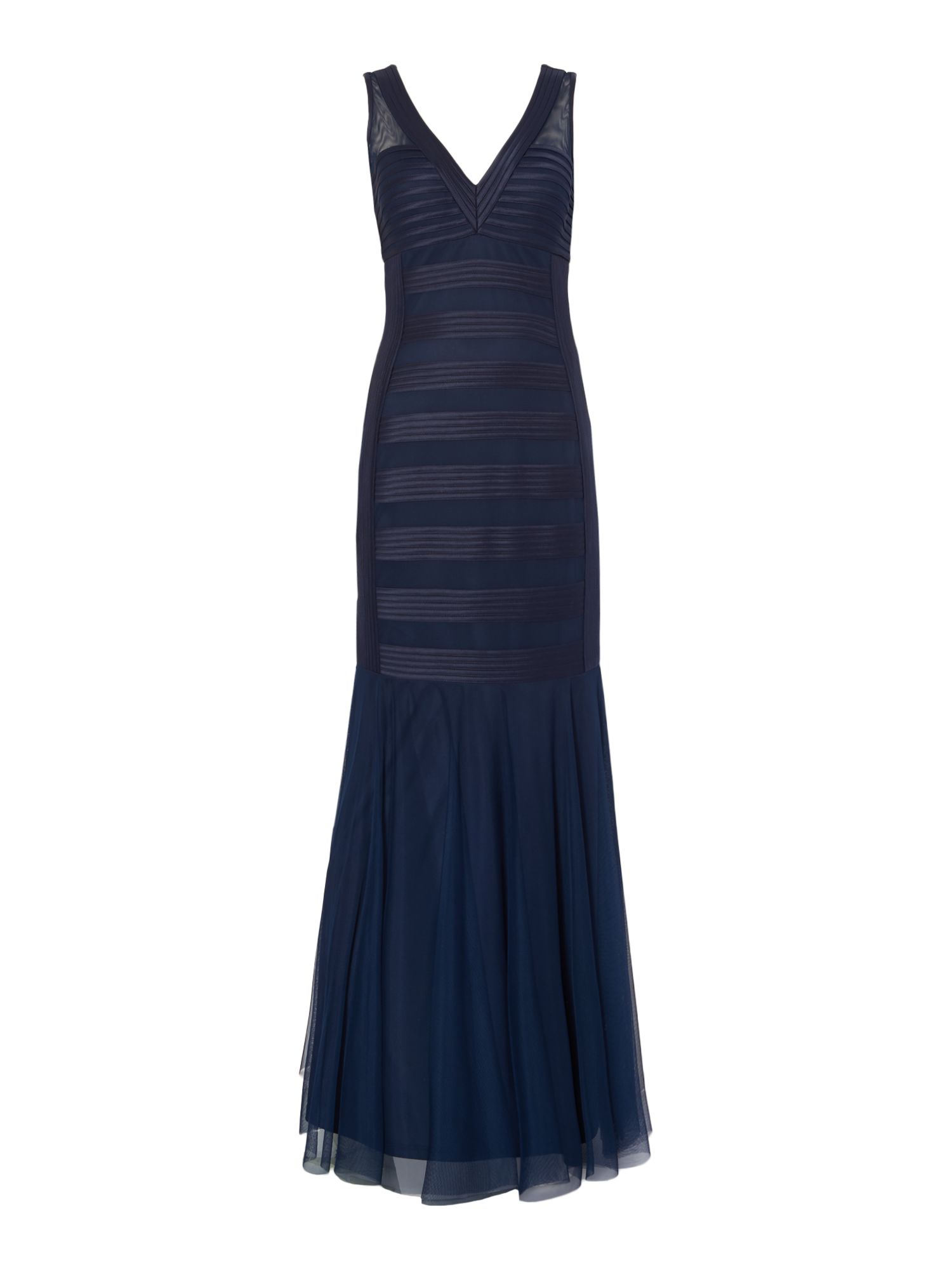 JS Collections Sleeveless structured gown with banding, Blue