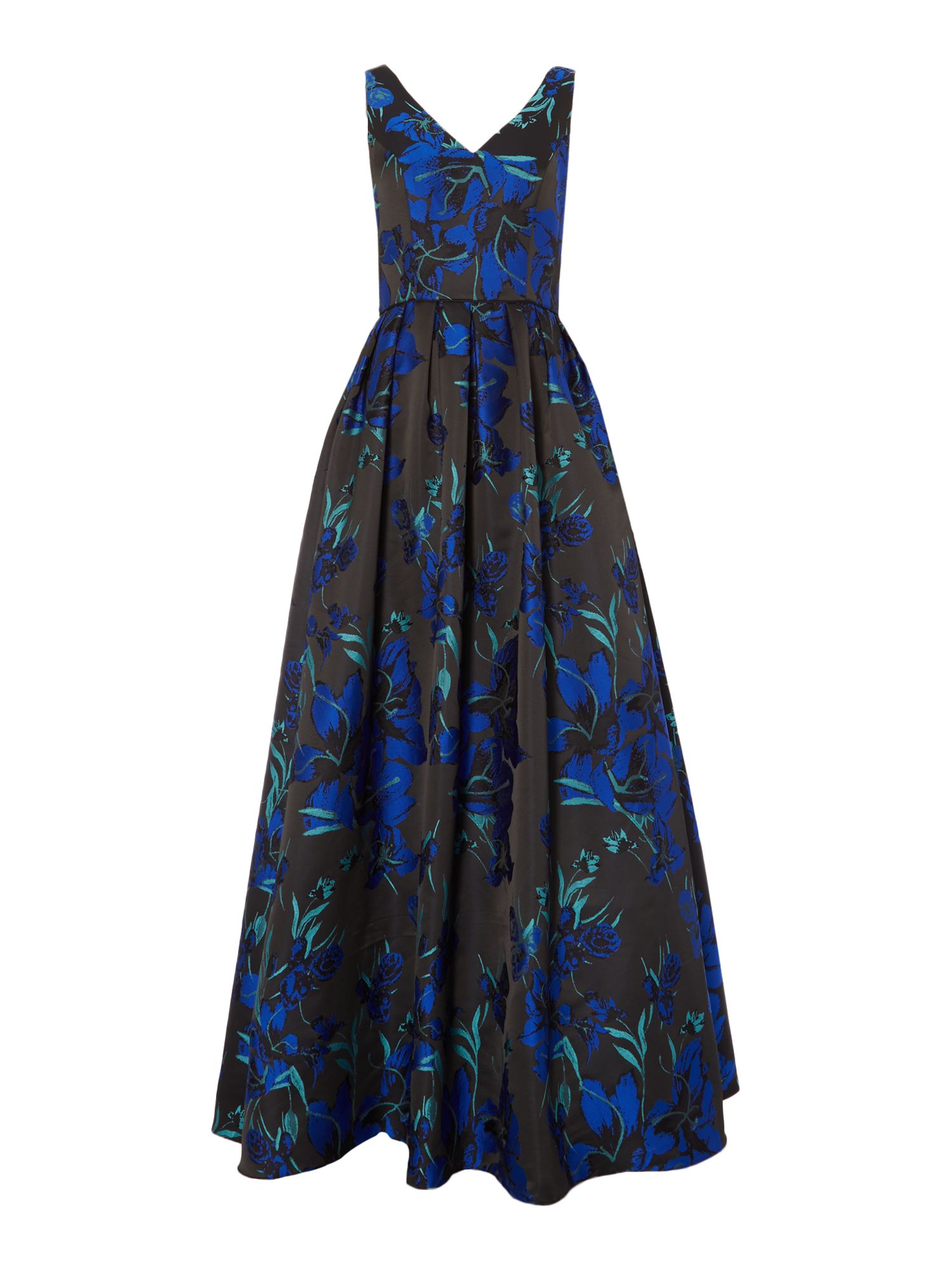 JS Collections Sleeveless gown with tropical flower print, Blue
