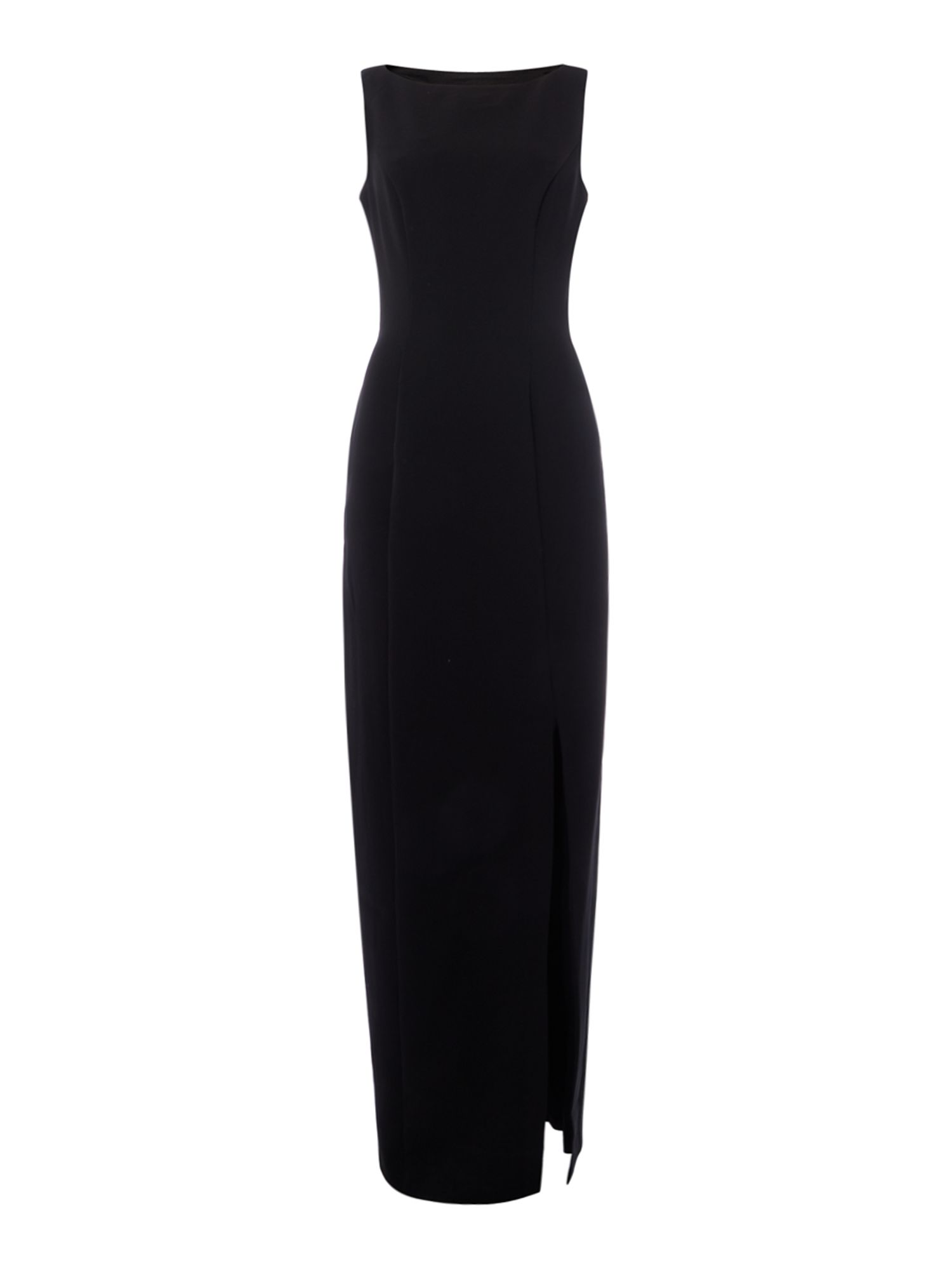 JS Collections Black gown dress with cut out back, Black