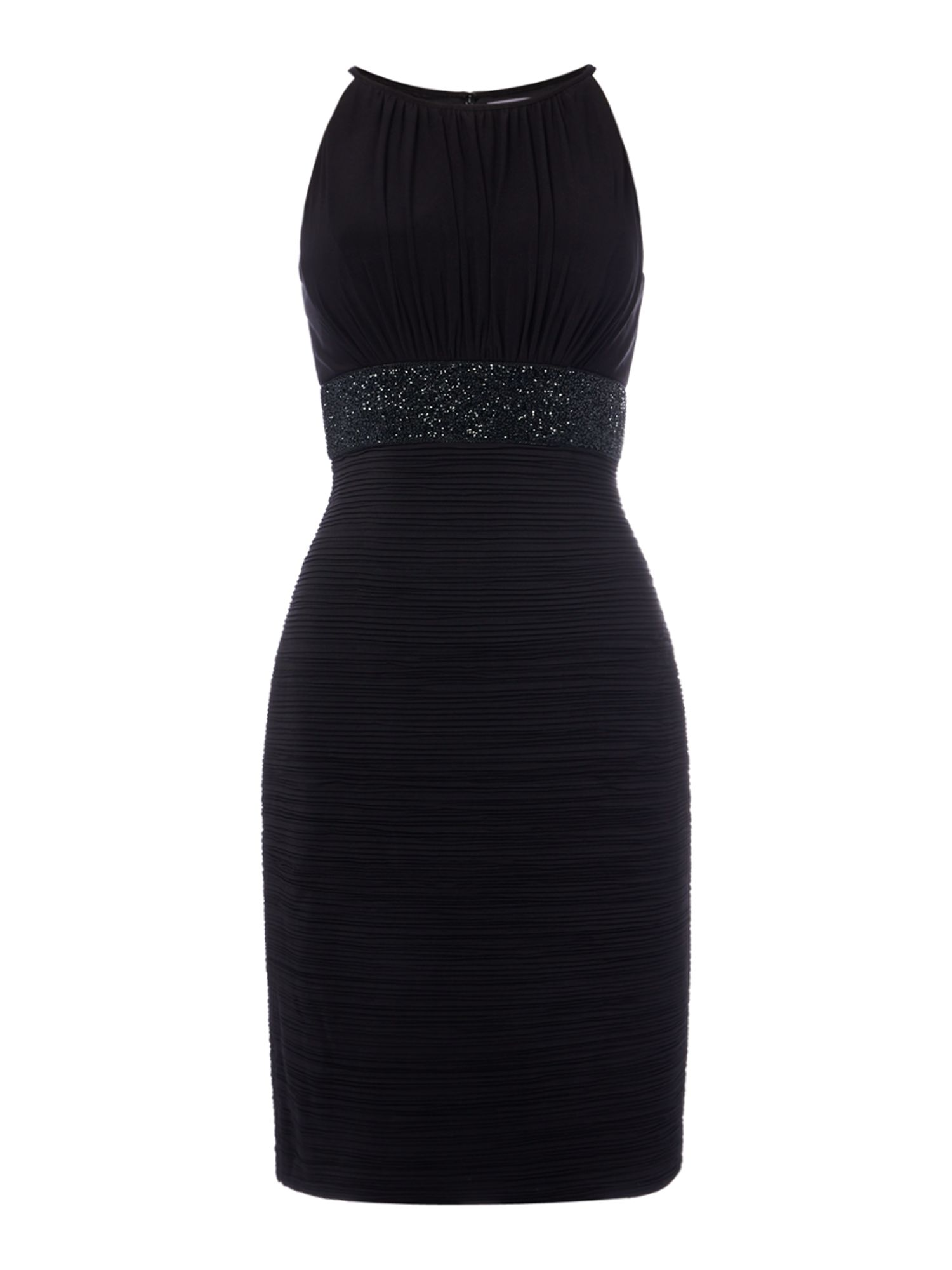 JS Collections Bodycon dress with beaded waist, Black