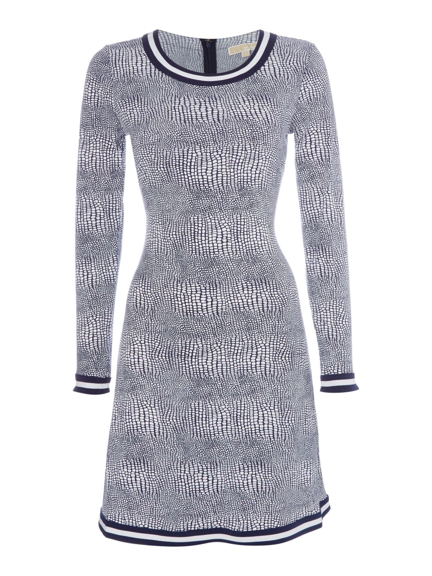 Michael Kors Longsleeve border shift dress, Blue