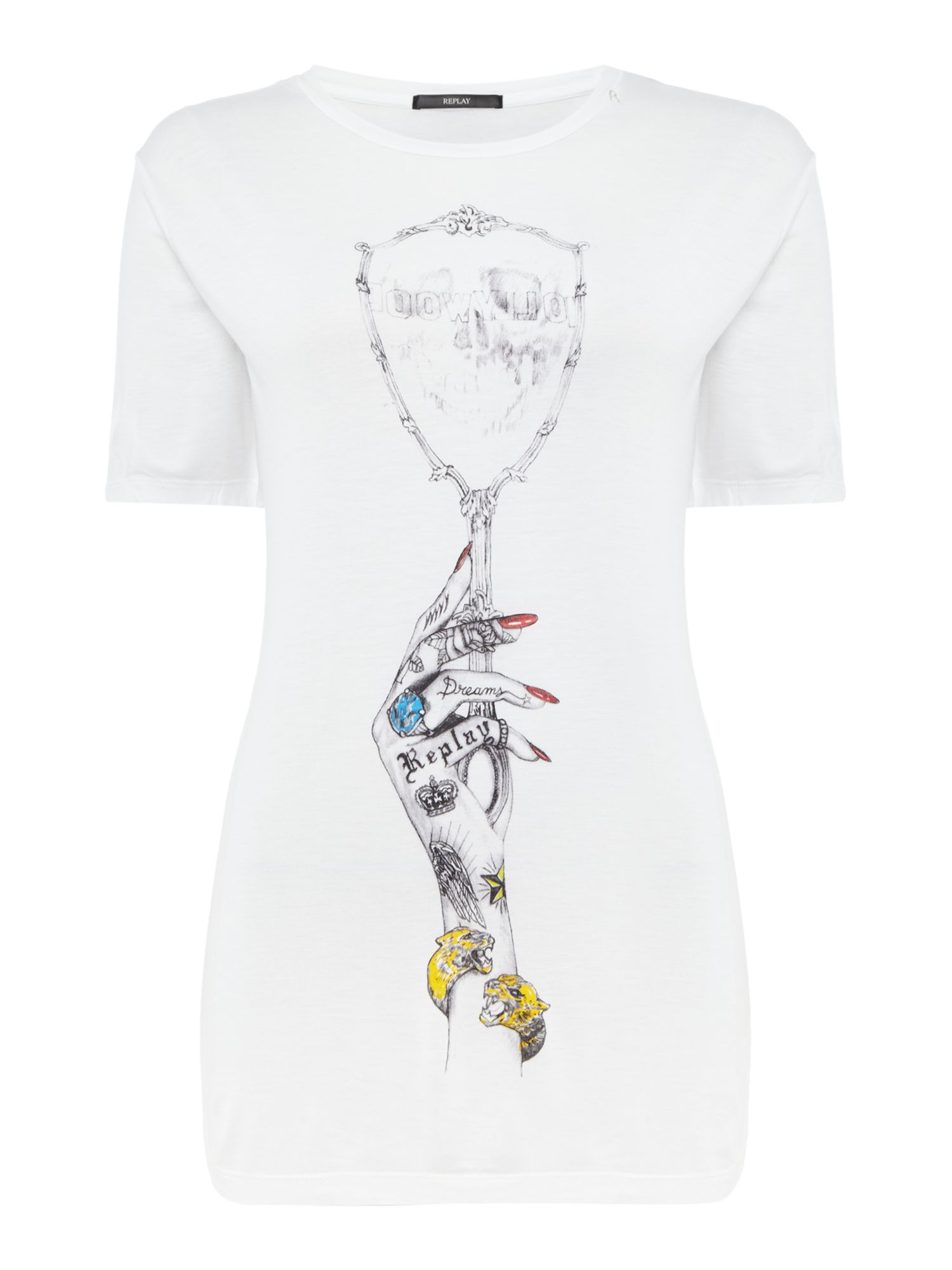 Replay Hand-drawn print T-shirt, White