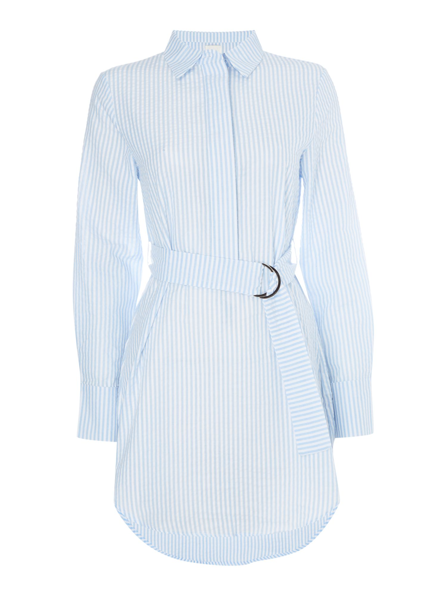 Mink Pink Long sleeve striped shirt with belt, Light Blue