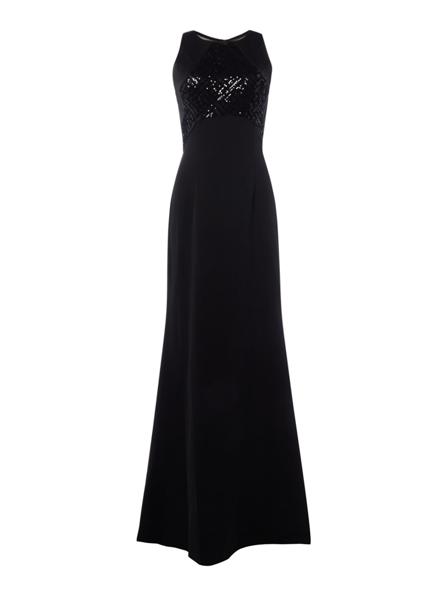 JS Collections Sleeveless gown with mesh back and beaded top, Black
