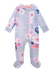 Joules Baby Stripe Floral All In One With Feet